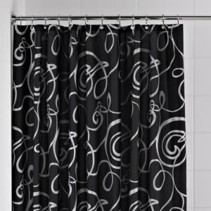 View Cooke & Lewis Black & Silver Squiggle Shower Curtain with Basket details