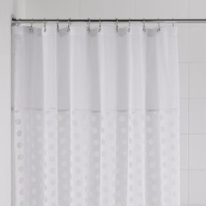 View Cooke & Lewis White Peek-A-Boo Shower Curtain with Basket details