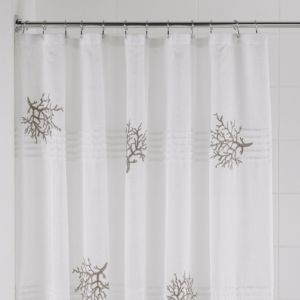 View Cooke & Lewis Cream Embroidered Coral Shower Curtain details