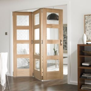 View Shaker 4 Panel 4 Lite Oak Veneer Fully Glazed Internal Room Divider, (H)1981mm (W)3660mm details