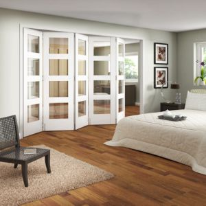 View Shaker 4 Panel 4 Lite MDF White Primed Fully Glazed Internal Room Divider, (H)1981mm (W)3050mm details