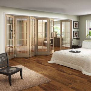 View Earleigh 10 Lite Oak Veneer Fully Glazed Internal Room Divider, (H)1981mm (W)3050mm details