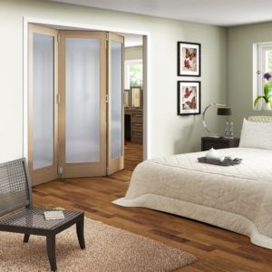 View Shaker 1 Panel 1 Lite Oak Veneer Fully Glazed Internal Room Divider, (H)1981mm (W)1830mm details