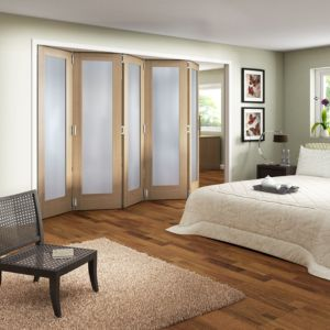 View Shaker 1 Panel 1 Lite Oak Veneer Fully Glazed Internal Room Divider, (H)1981mm (W)3050mm details