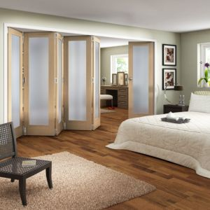 View Shaker 1 Panel 1 Lite Oak Veneer Fully Glazed Internal Room Divider, (H)1981mm (W)3660mm details