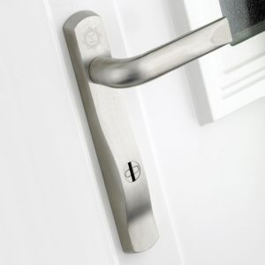 View B&Q Stainless Steel Effect Straight External Locking Door Handle, Pack of 1 Pair details