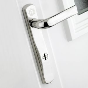 View B&Q Polished Chrome Effect Straight External Locking Door Handle,  Pack of 1 Pair details