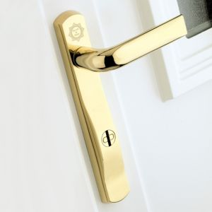 View B&Q Polished Gold Effect Straight External Locking Door Handle, Pack of 1 Pair details
