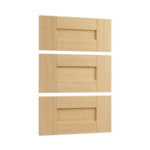 View Cooke & Lewis Ferrara Oak Style Shaker 3 Drawer Bedside Front Pack (W) 446 mm details