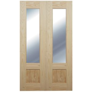 View Severn 1 Lite Clear Partially Glazed Softwood Internal French Door Panel, (H)1981mm (W)579mm details