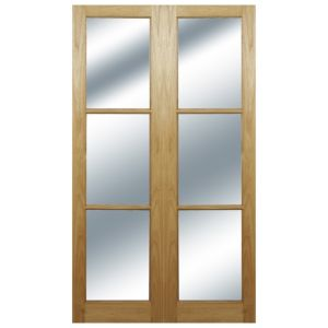 View 6 Lite Clear Hardwood Internal French Door Panel, (H)1981mm (W)290mm details