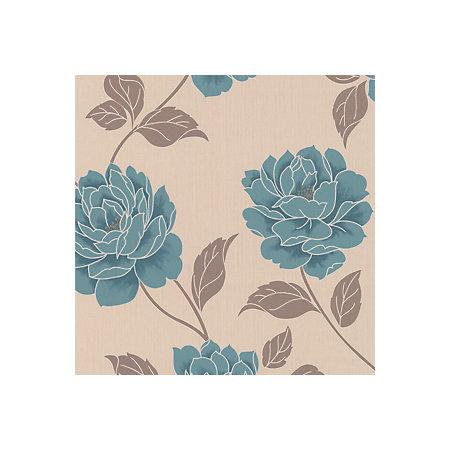 Colours ella teal floral wallpaper departments diy at b q for Home wallpaper b q