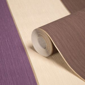 View Unity Stripe Beige, Brown & Plum Wallpaper details