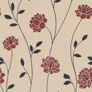 View Sienna Floral Black, Cream & Red Wallpaper details