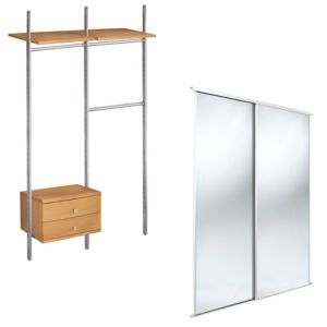 View Traditional Full Length Mirror Beech Effect Sliding Wardrobe Door Kit (H)2220 mm (W)610 mm details