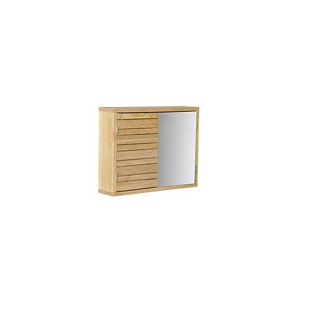 Cooke lewis savena double door oak effect mirror cabinet for Double mirror effect