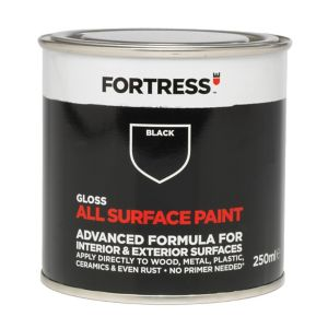 Image of Fortress Black Gloss Multi-surface paint 0.25L