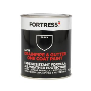 Image of Fortress Black Satin Drainpipe & Gutter Paint 750 ml