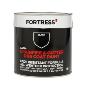 Image of Fortress Black Satin Drainpipe & Gutter Paint 2.5L