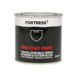 View Fortress One Coat Interior & Exterior Black Paint 250ml Tester Pot details