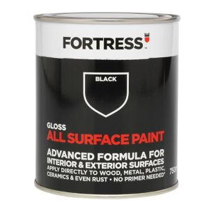 Image of Fortress Black Gloss Multi-surface paint 0.75L
