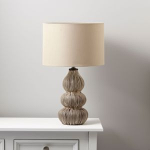 View Kirabo Tan Linen Effect Table Lamp details