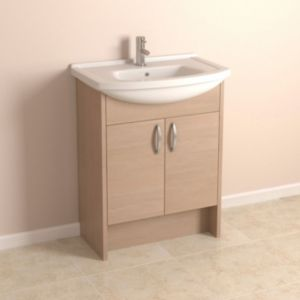 View Enza Oak Effect Vanity Unit with Clad-On End Panels details