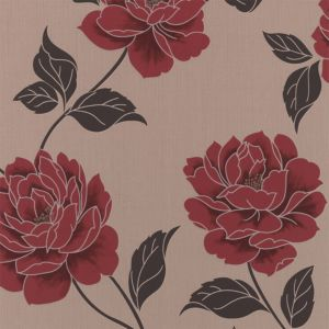 View Ella Floral Cream & Red Wallpaper details