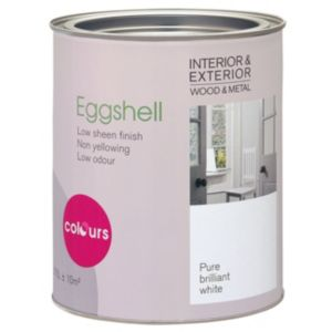 View Colours Interior & Exterior Eggshell White Eggshell Paint 750ml details