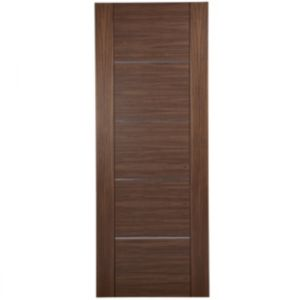 Image of Flush 5 Panel Walnut Veneer Unglazed Internal Fire Door (H)1981mm (W)762mm