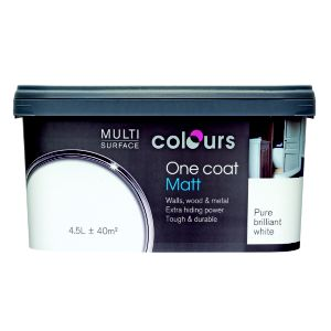View Colours One Coat Pure Brilliant White Matt Emulsion Paint 4.5L details