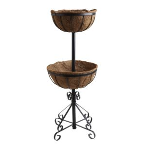 View Heavy Duty Black 2-Tier Fountain Planter (H)880mm (Dia)300-350mm details