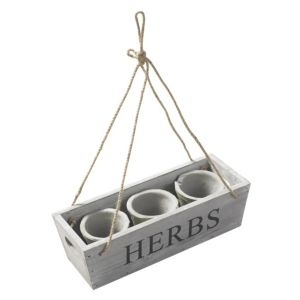 View Blooma White Wash Herb Hanging Planter details