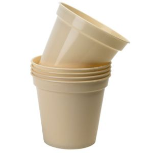 View Plastic Cream Plant Pot (H)12cm (Dia)12.7cm, Pack of 5 details