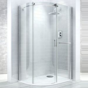 View Cooke & Lewis Eclipse Offset Quadrant RH Shower Enclosure, Tray & Waste Pack with Single Sliding Door (W)1200mm (D)900mm details