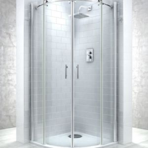 View Cooke & Lewis Eclipse Quadrant Double Sliding Shower Enclosure, Tray And Waste with Double Sliding Door (W)800mm (D)800mm details