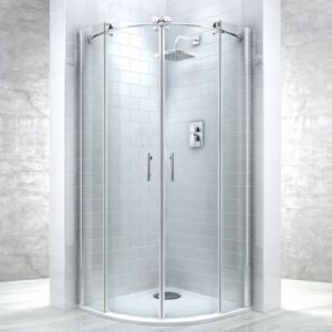 View Cooke & Lewis Eclipse Quadrant Double Sliding Shower Enclosure, Tray And Waste with Double Sliding Door (W)900mm (D)900mm details