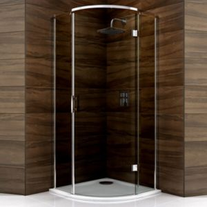 View Cooke & Lewis Cascata Quadrant Hinged Shower Enclosure, Tray And Waste with Hinged Door & Smoked Glass (W)900mm (D)900mm details