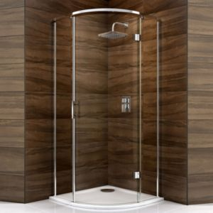 View Cooke & Lewis Cascata Quadrant Hinged Shower Enclosure, Tray And Waste with Hinged Door (W)900mm (D)900mm details