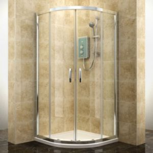 View Cooke & Lewis Deluvio Quadrant Double Sliding Shower Enclosure And Tray with Double Sliding Door (W)900mm (D)900mm details