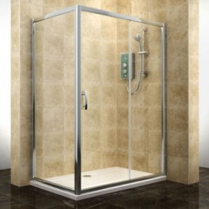 View Cooke & Lewis Deluvio Rectangular Sliding Shower Enclosure, Tray And Waste with Sliding Door (W)1200mm (D)800mm details