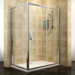 View Cooke & Lewis Deluvio Rectangular Shower Enclosure, Tray & Waste Pack with Single Sliding Door (W)1400mm (D)900mm details
