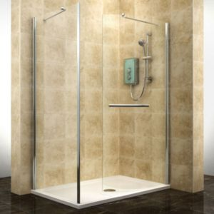 View Cooke & Lewis Deluvio Rectangular Shower Enclosure & Tray RH (W)1400mm (D)900mm details