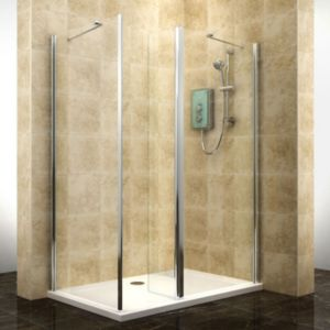 View Cooke & Lewis Deluvio Rectangular Walk-In Entryshower Enclosure And Tray with Walk-In Entry (W)1200mm (D)800mm details