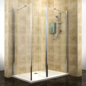 View Cooke & Lewis Deluvio Rectangular RH Shower Enclosure, Tray & Waste Pack with Walk-In Entry (W)1400mm (D)900mm details