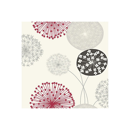 B&Q Lucienne Grey & red Floral Wallpaper   Departments ...