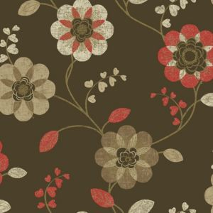 View Anastasia Floral Brown Wallpaper details