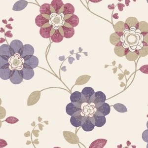 View Anastasia Floral Plum & Raspberry Wallpaper details