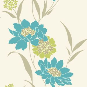 View Amala Floral Teal Wallpaper details