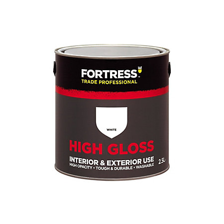 Fortress trade interior exterior white gloss multipurpose paint 2 5l rooms diy at b q - Exterior white gloss paint image ...